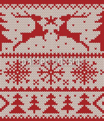 Knitted Deer Crossing White Design Pattern