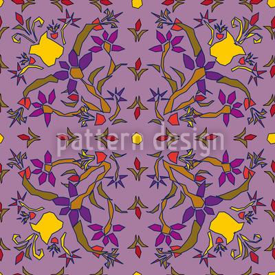 Symmetrische Fantasieblumen Vektor Muster
