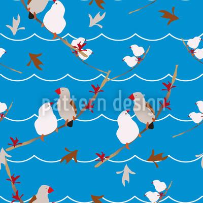 Lovebirds Blau Rapportmuster