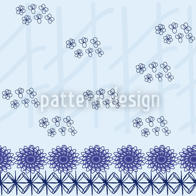 Arranged Flowers Blue Pattern Design