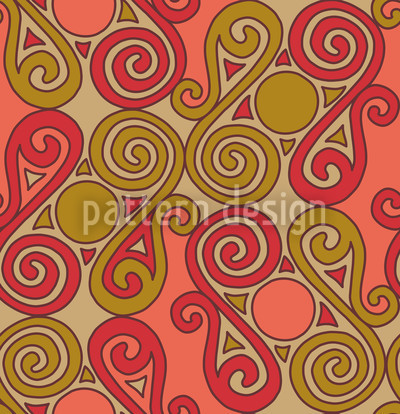 Cucuteni Spiralen Orange Vektor Muster