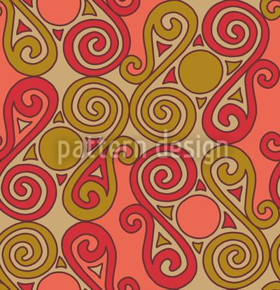 Cucuteni Spirals Orange Vector Pattern
