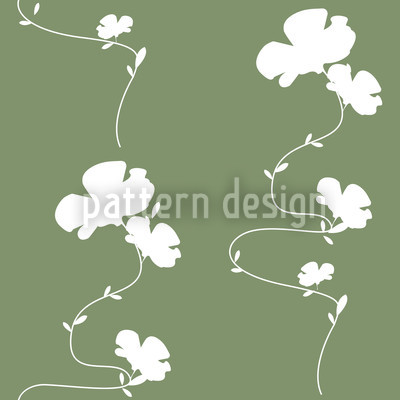 Romantic Floral Design Green Repeating Pattern