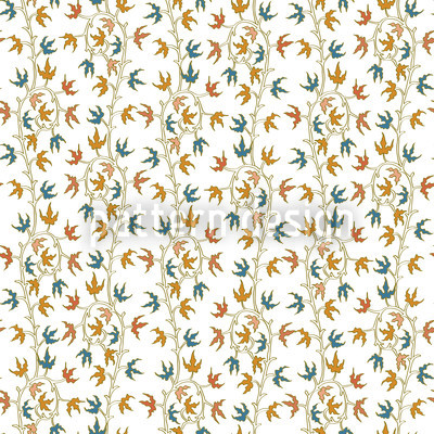 Ivy Tendrillars White Seamless Vector Pattern