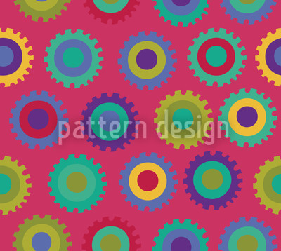 Colorful Gear Seamless Pattern