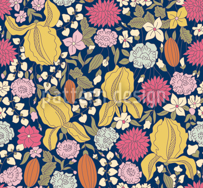 Dark Garden Secrets Vector Pattern