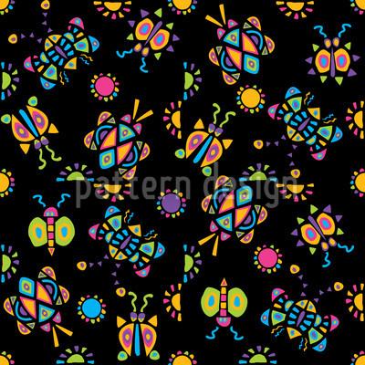 Kribbel Krabbel Schwarz Nahtloses Muster