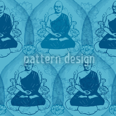 Calm Down With Buddha Seamless Vector Pattern