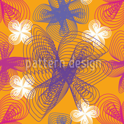 Spiralflowers Saffron Vector Pattern