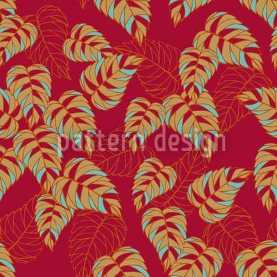 Birkenblätter auf Rot Designmuster