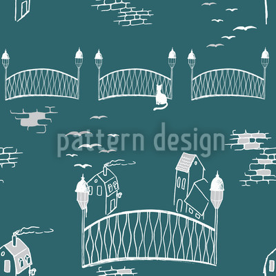 Stadtwege Zur Kätzchenbrücke Vektor Muster