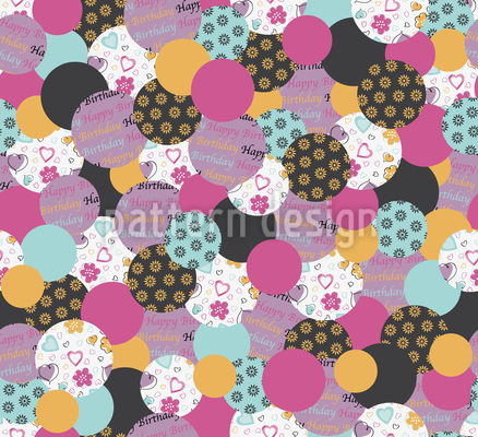 Geburtstags Buttons Pink Rapportmuster