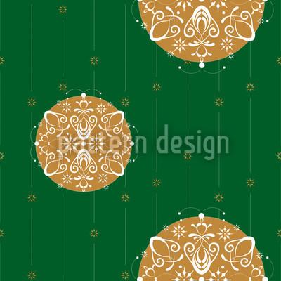 Stilisierte Christbaumkugel Grün Rapportiertes Design