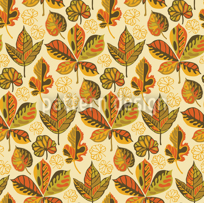 Golden Leaves Morning Glory Design Pattern