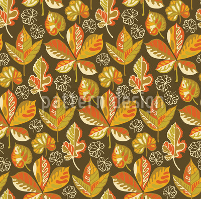 Golden Leaves Evening Vector Ornament
