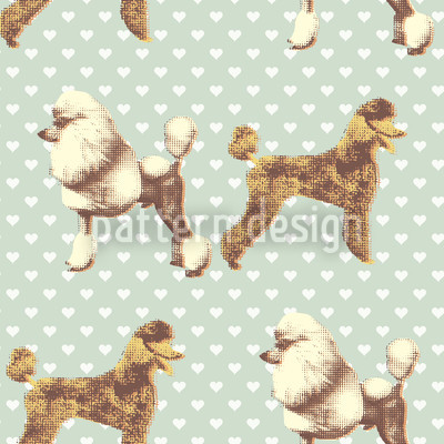 Poodle With Heart Aqua Vector Pattern