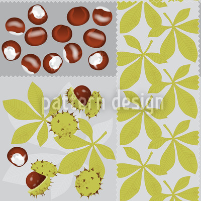 Leaves And Chestnuts Seamless Pattern
