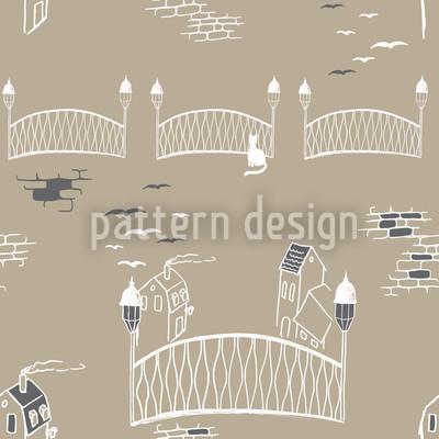 Kätzchenbrücke In Paris Rapportmuster