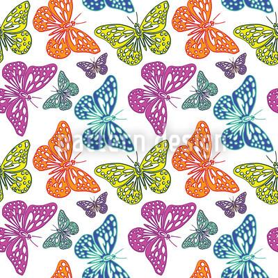 Bunte Schmetterlinge Nahtloses Vektor Muster