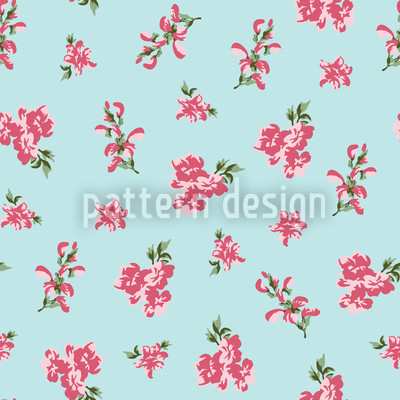 Garden Romance In Heavenly Blue Seamless Pattern