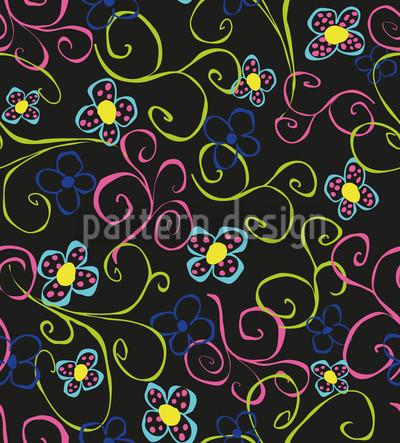 Flower Swirls Seamless Vector Pattern
