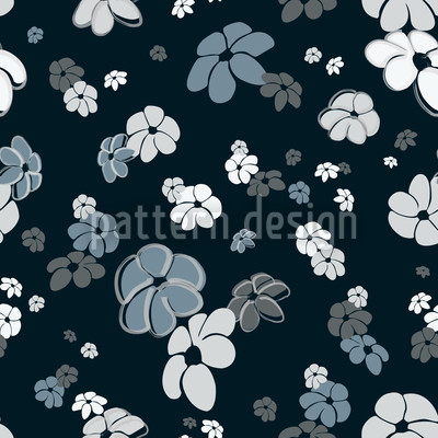 Blue Flower Rain Pattern Design