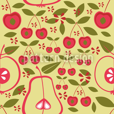 Fruit Garden Beige Seamless Pattern