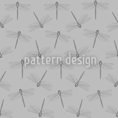 Flight Of The Dragonfly Grey Vector Ornament