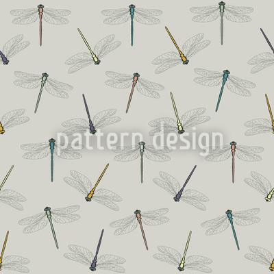 Flight Of The Dragonfly Color Seamless Pattern