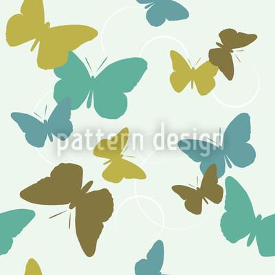 Time Of The Butterflies Green Pattern Design