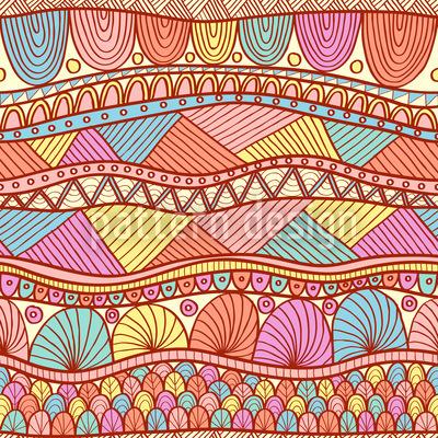 Ethno Farbexplosion Nahtloses Vektor Muster