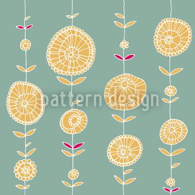 Blumenkette Gelb Rapportiertes Design