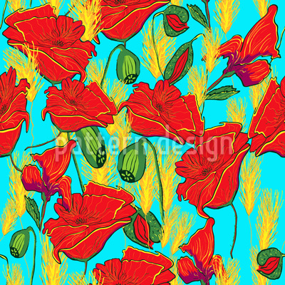 Poppies Vector Pattern