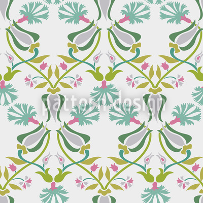 Tulips And Carnations Entwined Seamless Vector Pattern