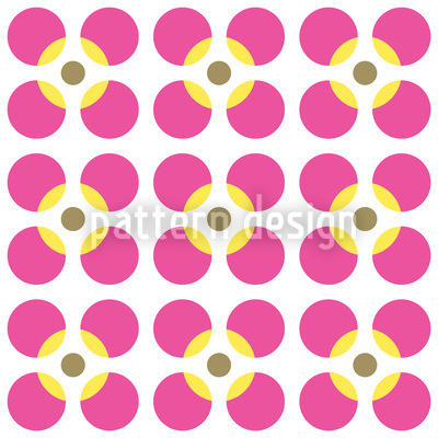 Round Flower Seamless Vector Pattern