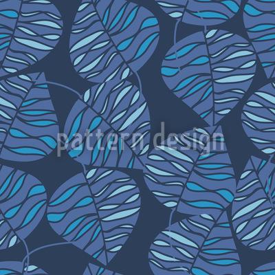 Marine Blaue Blätter Nahtloses Muster