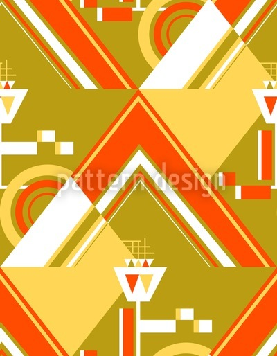 Deco Triangles Gold Seamless Pattern