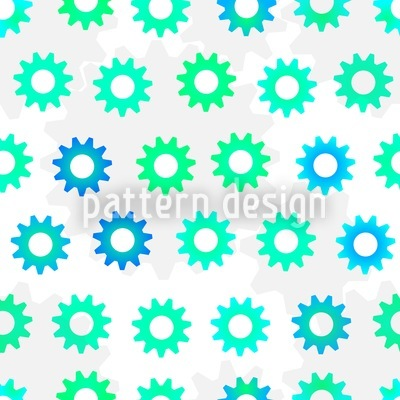 Green-Blue Gears Seamless Pattern