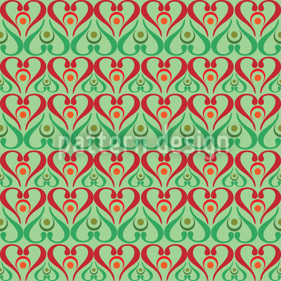 Hearts On Green Pattern Design