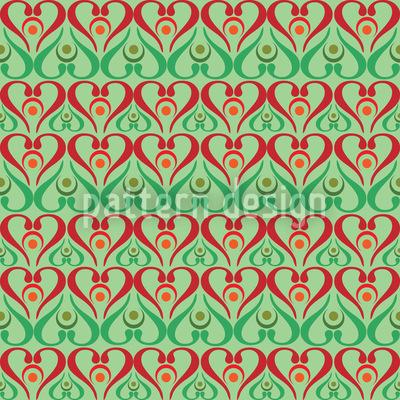 Herzen Auf Grün Muster Design