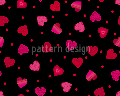 Hearts Dance Polka Seamless Vector Pattern