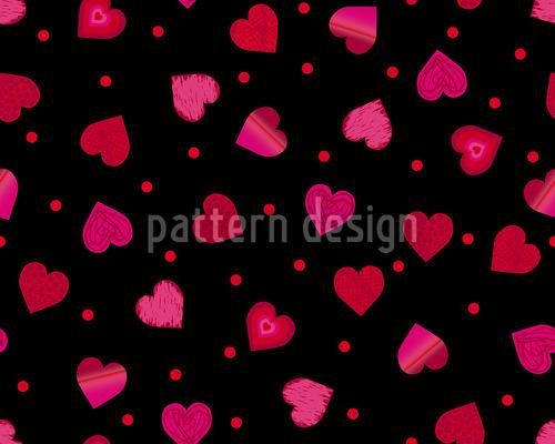 Herz Tanz Polka Nahtloses Vektor Muster