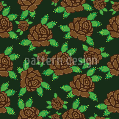 Golden Autumn Roses Vector Ornament