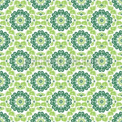 Flora Verde Nahtloses Vektor Muster