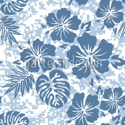 Hawaiian Hibiscus Blue Vector Design