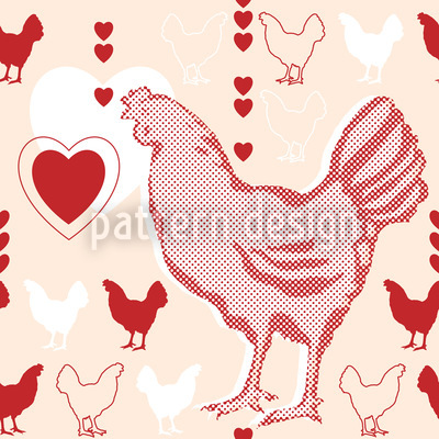 Chicken With Heart Vector Pattern
