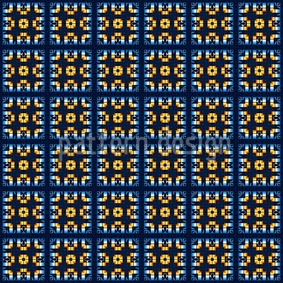 Tiles In Blue And Gold Repeat