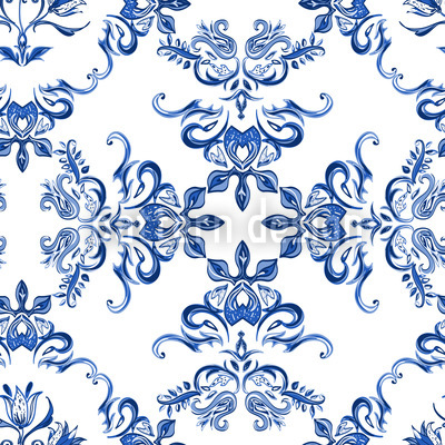 Keramik Tulpen Nahtloses Vektor Muster