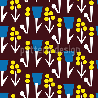 Flower Fantasy On Brown Pattern Design