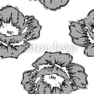 Poppy Art BW Design Pattern